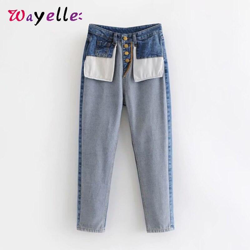 Высокая талия джинсы Для женщин UK Стиль Модные анти-карман джинсы Демисезонный шикарное лоскутное синий Deninm брюки Для женщин Fashionnova женщина