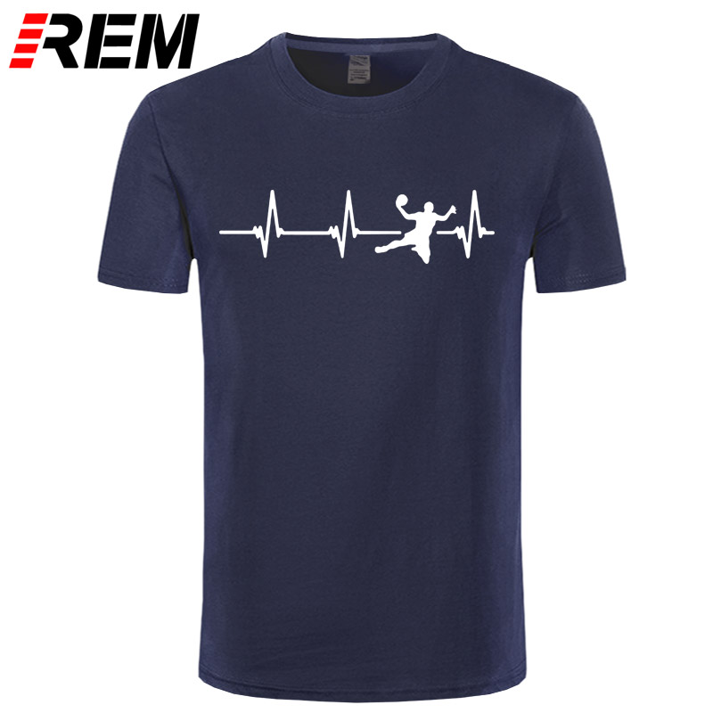 New Love Handball T Shirt Tee Men Short Sleeve O-Neck Cotton Funny Handball Heartbeat T-shirt Girls Man Clothing Tops
