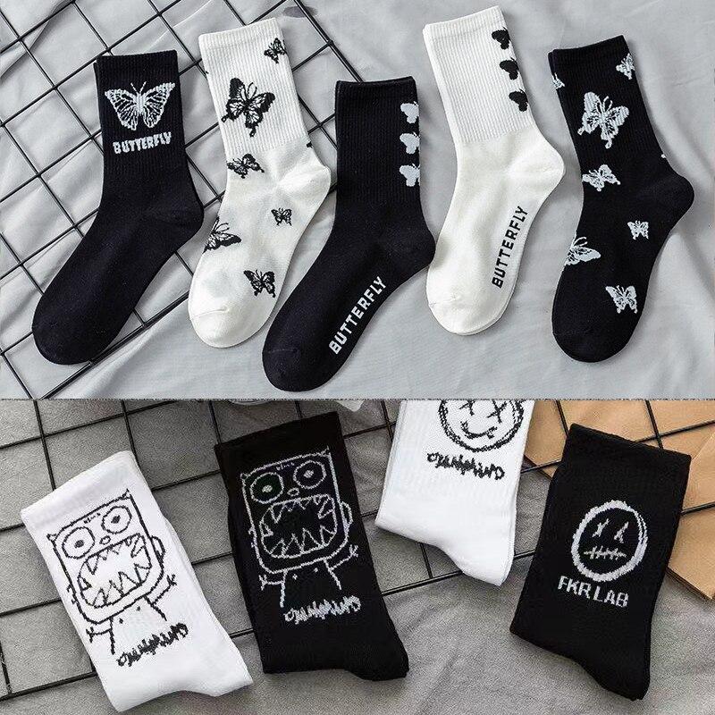 Новый Kawaii Носки с бабочками для женщин уличная Harajuku с круглым для женщин в Корейском стиле забавные классные черные носки для малышей; Модны...