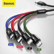 Baseus 3 em 1 cabo usb tipo c cabo para samsung s20 xiaomi mi 9 cabo para iphone 12x11 pro max huawei carregador micro cabo usb