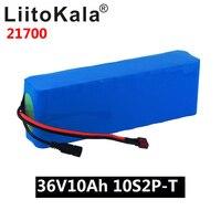 Liitokala 36 v 10ah bateria 21700 5000mah 10s2p bateria 500 w bateria de alta potência ebike bicicleta elétrica bms