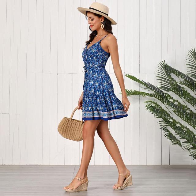 Fashion Women Summer Dress Sleeveless V-neck Drawstring Loose Short Dress High Waist Printed Sexy A-line Dress Backless Vestidos 4