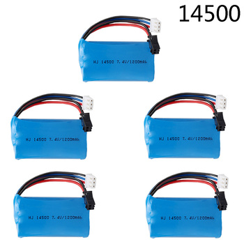 5PCS 7.4V 1200mAh 14500 Lipo Battery SM Plug For Electric Toys Water Bullet Gun Spare Parts 2s 7.4 v lithium Battery for RC toys image