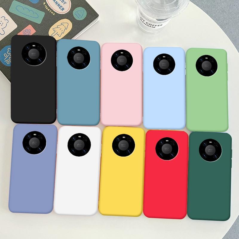Мягкий силиконовый чехол из ТПУ для Huawei Mate 40 Pro, ярко-черный простой чехол-накладка для телефона