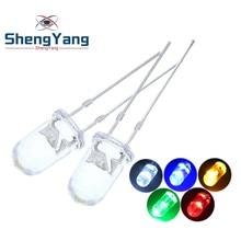 100 pçs/lote transparente redondo 5mm super brilhante água clara verde vermelho branco amarelo azul luz led lâmpadas emitindo diodo f5
