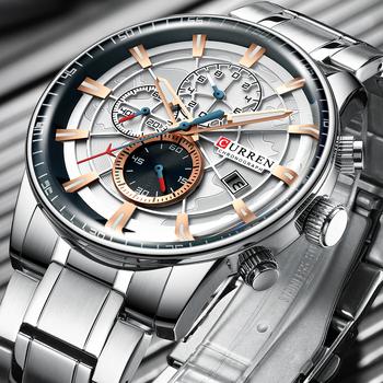 Męskie zegarki CURREN Top luksusowa marka moda zegarek kwarcowy mężczyźni wodoodporny zegarek chronograf biznes Relogio Masculino tanie i dobre opinie Moda casual QUARTZ Bransoletka zapięcie 3Bar Stop 24cm 15mm 24mm ROUND Nie pakiet STAINLESS STEEL Odporny na wstrząsy
