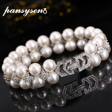 PANSYSEN Solid 925 Sterling Silver Elegant Pearl Bracelets Bangles for Women with 5A Zircon Fashion Jewelry Bracelet Party Gifts