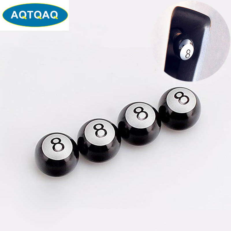 AQTQAQ 4pcs/lot Universal Auto Truck Bike Billiards Pool 8 Ball Valve Stem Caps Tire Air Valve Stem Caps Wheel Rim Black