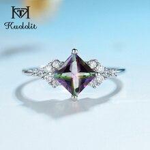 Kuololitナチュラルミスティックトパーズの宝石用原石リング女性のための 925 スターリングシルバースクエアカットマルチカラーストーン婚約ファインジュエリー