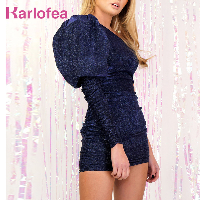 Karlofea Women One Shoulder Big Puff Sleeve Dress Elegant Sparkle Christmas Celebrity Party Outfits Sexy Club Ruched Mini Dress