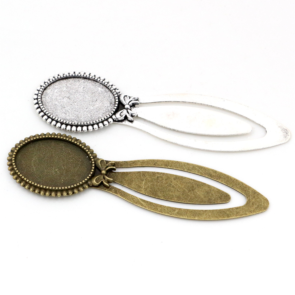 New Fashion 2pcs 18x25mm Inner Size Antique Silver Plated And Bronze Simple Style Handmade Bookmark Cabochon Base  Cameo Setting