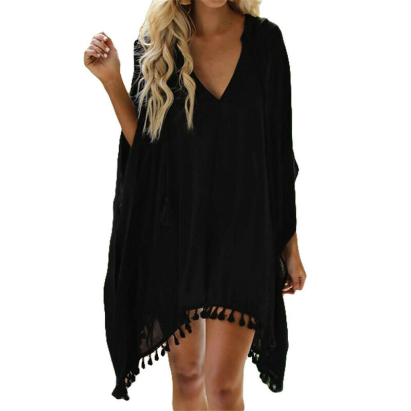 2020 Fashion Women Tassel Swimwear Bikini Cover Up Beach Wear Kaftan Loose Cover-Ups Dress Plus Size