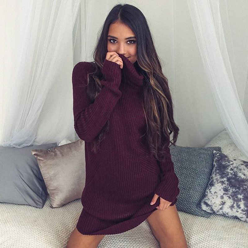 אופנה מכירה לוהטת דק סרוג סוודר רופף מיני שמלת אביב סתיו נשים דק סווטשירט גולף ארוך שרוול Jumper שמלה