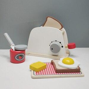 Image 1 - Dzieci drewniane udawaj zagraj zestawy symulacja tostery maszyna do chleba ekspres do kawy Blender zestaw do pieczenia gra mikser kuchnia rola zabawka