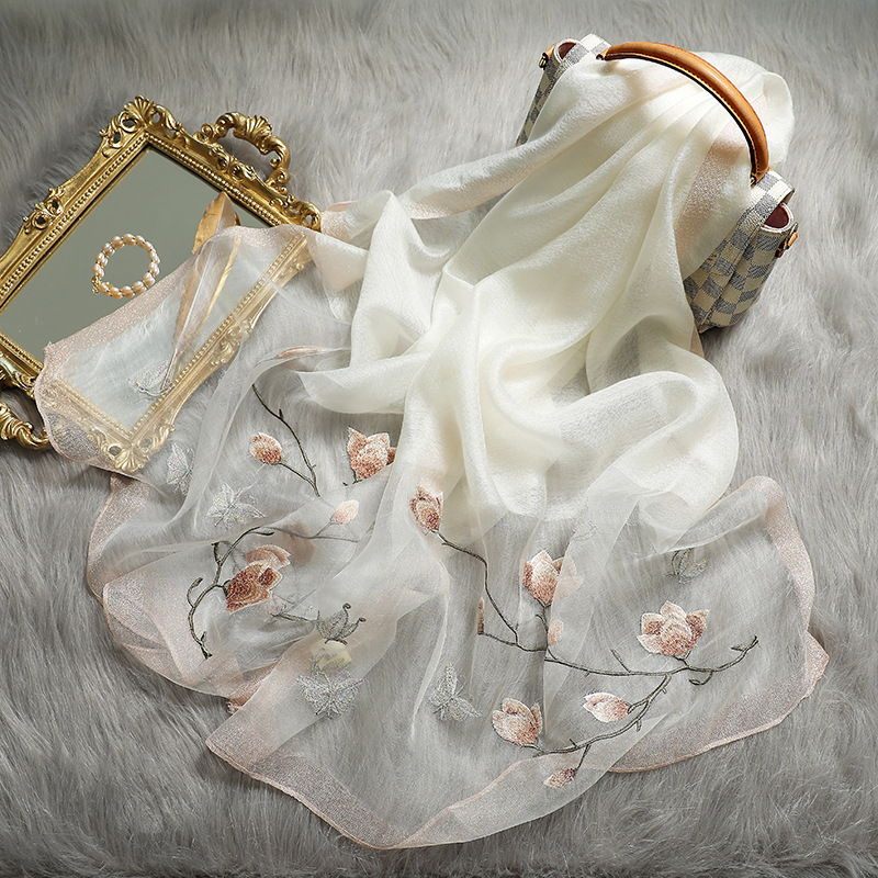 Solid Silk Women Scarf Winter Warm Wool Shawls Lady Wraps Bufanda Floral Pashmina Luxury Embroidery Warn Scarves 2020 New