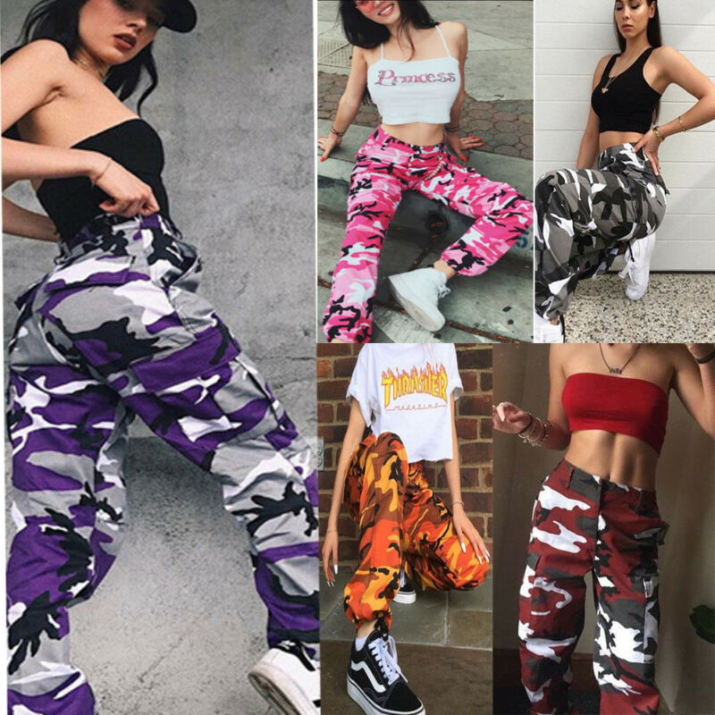 Women Camouflage Pants Cargo Trousers Casual Pockets Long Pants Military Army Combat Pants High Quality Capris Hip Hop S-3XL