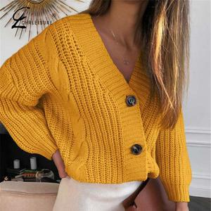 Women Sweater Female Casual Long Sleeve Button Cardigan Knitted Sweaters Coat Femme Winter Warm Pull Femme(China)