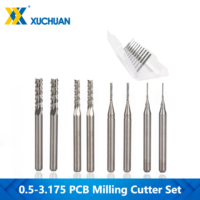 10pcs 0 8-3 175mm CNC Milling Bit 3 175mm Shank PCB Milling Cutter Set For Metal Milling Carbide End Mill