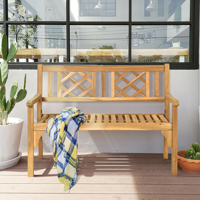 Patio Foldable Bench with Curved Backrest and Armrest  4