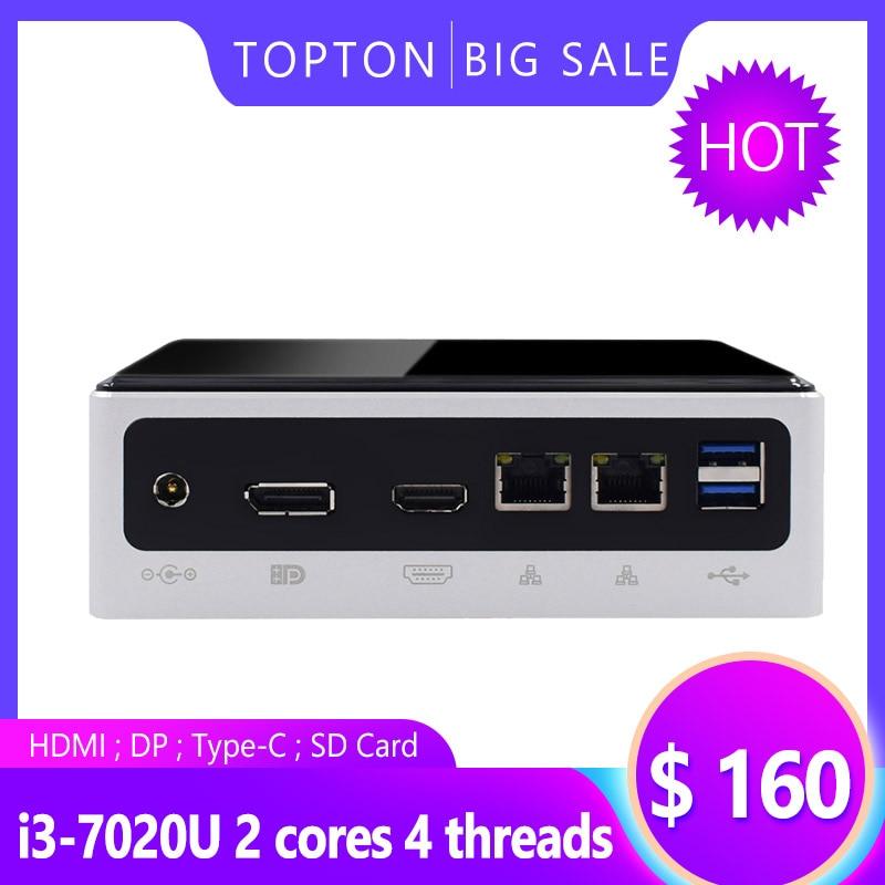 TOPTON Mini Computer 8th Gen Intel Core  I7 8550U I5 8250U 4 Core 8 Threads WIndows 10 Linux Fan Mini PC 2*LAN 1*HDMI 1*DP 4*USB