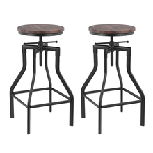Stool Chair-Bar Dining-Chair Pinewood-Top Ikayaa Adjustable Industrial-Style Kitchen