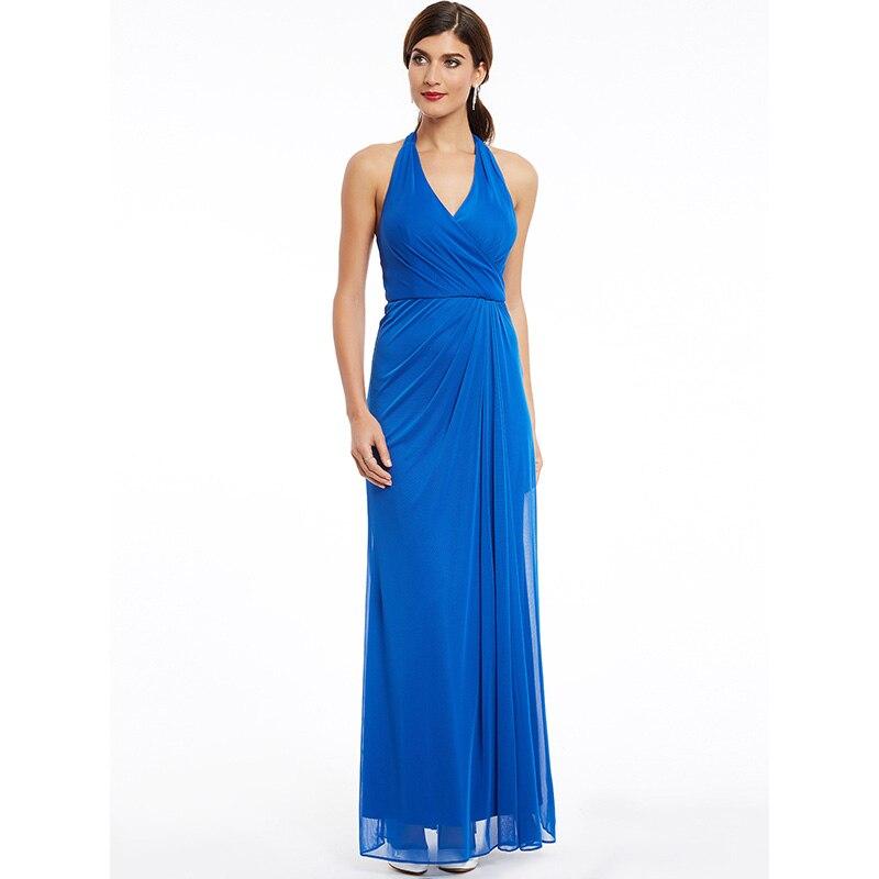Dressv dark royal blue halter neck long   evening     dress   sleeveless wedding party formal   dress   sheath   evening     dresses