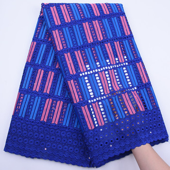 African Dry Lace Fabric Royal Blue Swiss Voile Lace In Switzerland 2019 High Quality Nigerian Dry Lace Fabric For Dress Y1773