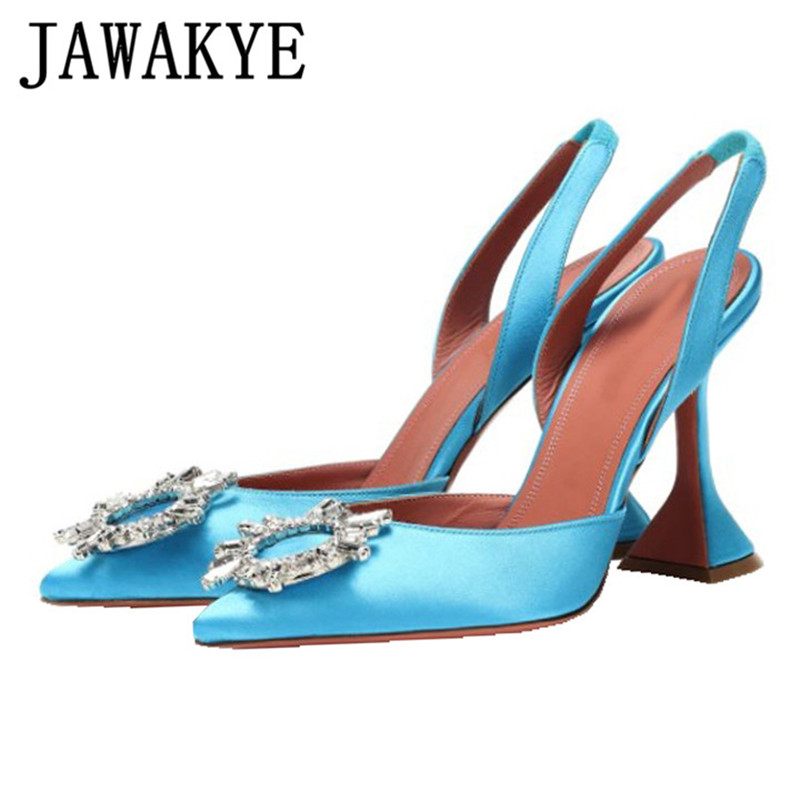 Satin Sandals Women Pointed Toe Crystal Cup High Heel Stilettos Sexy Pumps 2020 New Slingback Summer Wedding Shoes Women