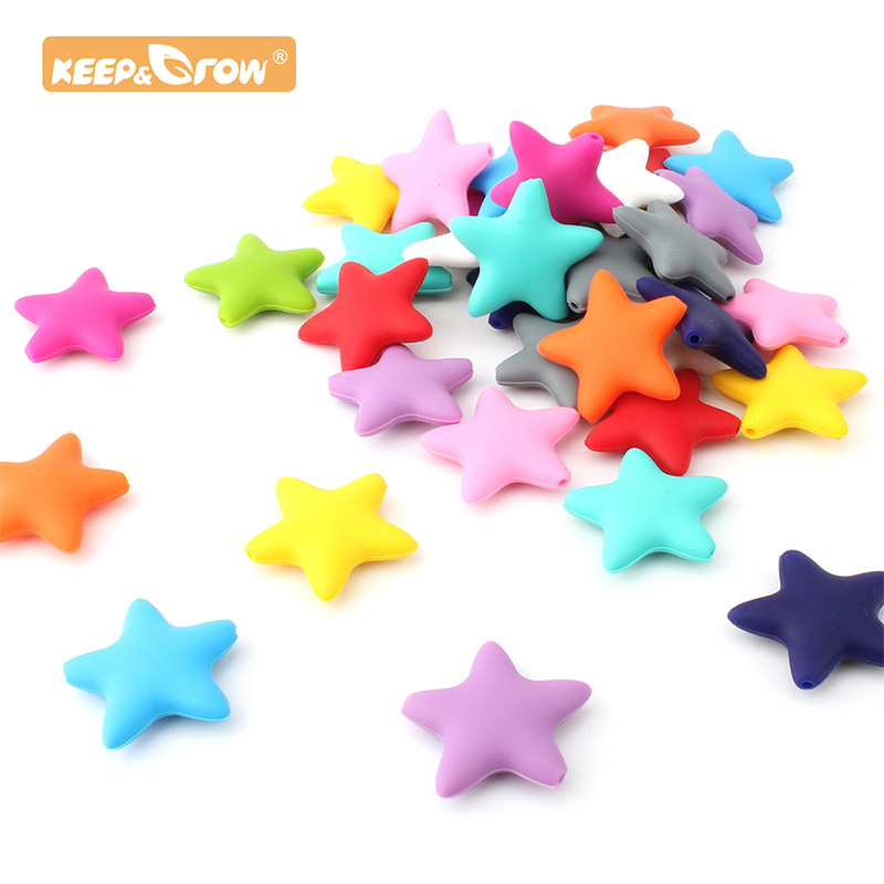 Keep&Grow Star 50pcs Silicone Bead Baby Teether Accessories Food Grade Pearl Silicone Star Teething Pacifier Making Teether