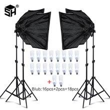 Foto estúdio retângulo fotografia caixa macia 8 led 20w kit de iluminação fotográfica 2 suporte de luz 2 caixa macia levar saco para câmera