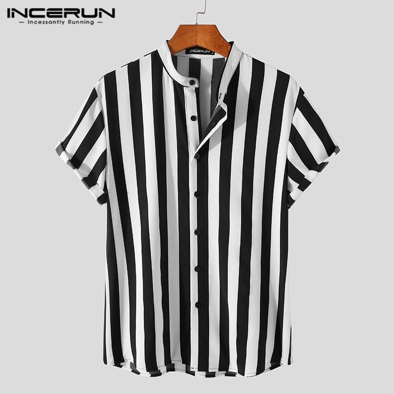INCERUN Man Stylish Button Blouse Summer Casual Tops Masculina Fashion Striped Men Shirts Short Sleeve Stand Collar Shirt 5XL 7 3