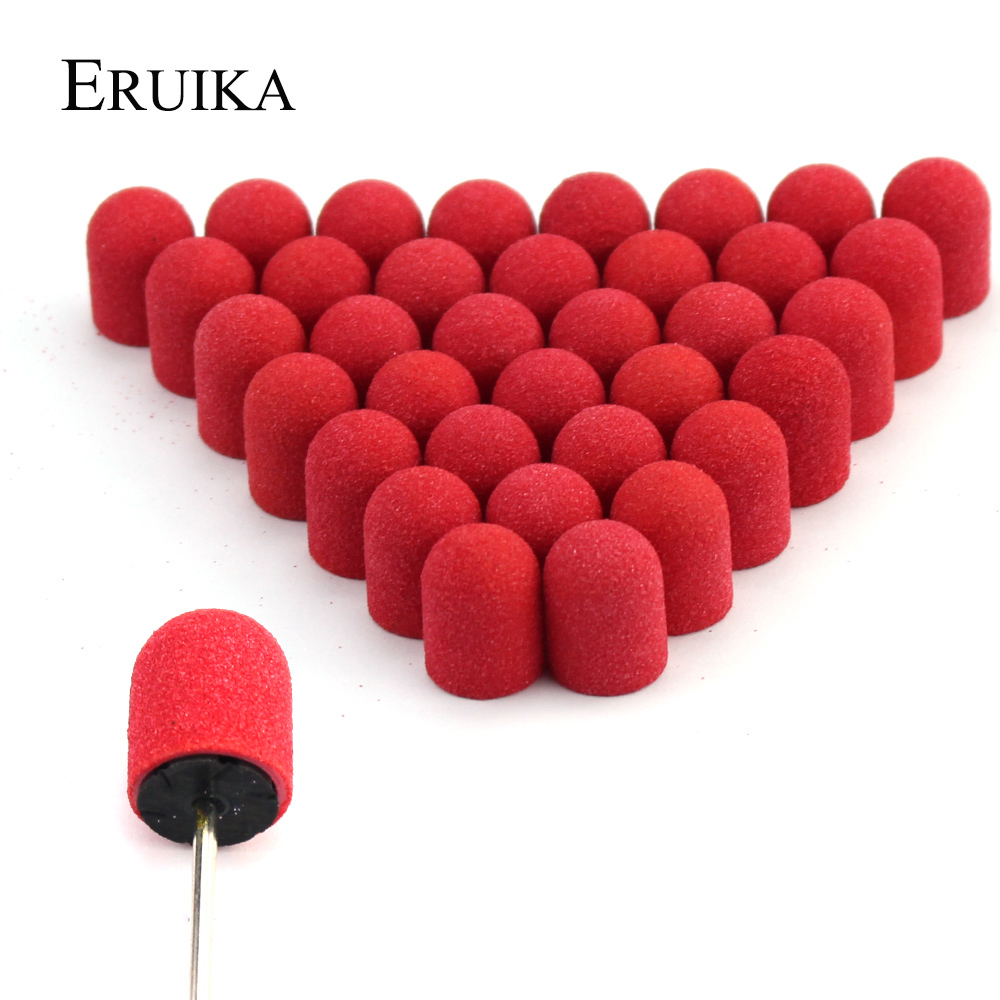 50 шт. 10*15 мм красные аксессуары для маникюра и педикюра, шлифовальная Кепка для ног, фрезерование кутикулы для маникюра, педикюра, инструмент...