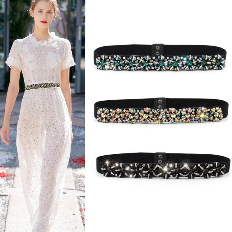 Rhinestone Belt Ceinture Strass Diamond Western Glitter Dress Belts For Women Elastic Easy Designer Waist Stretch Waistband