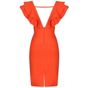 Image 5 - Ocstrade seksi bandaj elbise 2020 yeni kadın turuncu derin v boyun Ruffles zarif bandaj elbiseler Bodycon Backless kulübü parti elbise