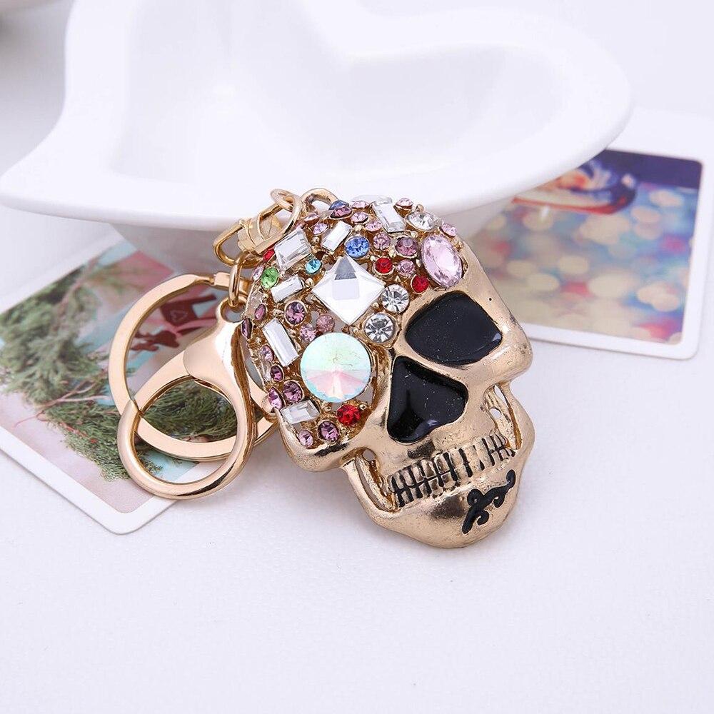 Ocidental moda crânio metal carro chaveiro colorido elegante strass chaveiro feminino pingente presente criativo jóias dropshipping