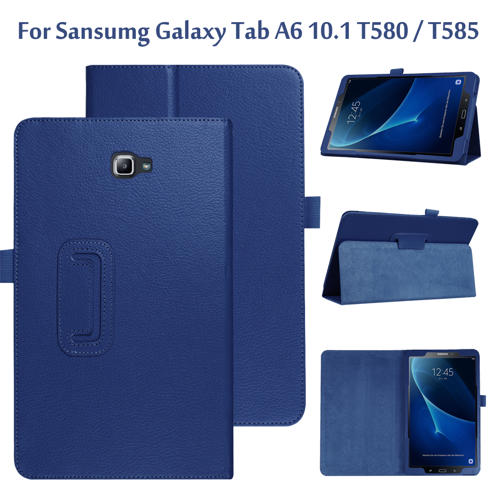 Folio Stand Skin Case Cover For <font><b>Samsung</b></font> <font><b>Galaxy</b></font> <font><b>Tab</b></font> A6 <font><b>10.1</b></font> <font><b>T580</b></font> T585 <font><b>10.1</b></font> inch <font><b>Tablet</b></font> <font><b>Funda</b></font> For <font><b>Tab</b></font> <font><b>A</b></font> <font><b>10.1</b></font> SM-<font><b>T580</b></font> SM-T585 image
