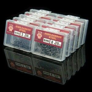 Image 1 - 100 stück/Box von High Carbon Stahl Haken mit Haken See Marine Angeln Haken Effiziente Stacheldraht Angelhaken