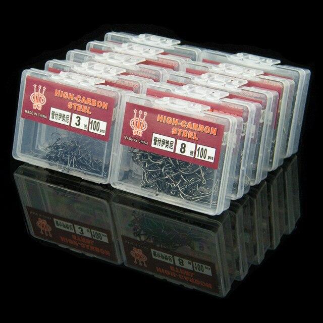 100 ピース/箱の高炭素鋼フックとフック湖海洋漁業フック効率的な有刺フック
