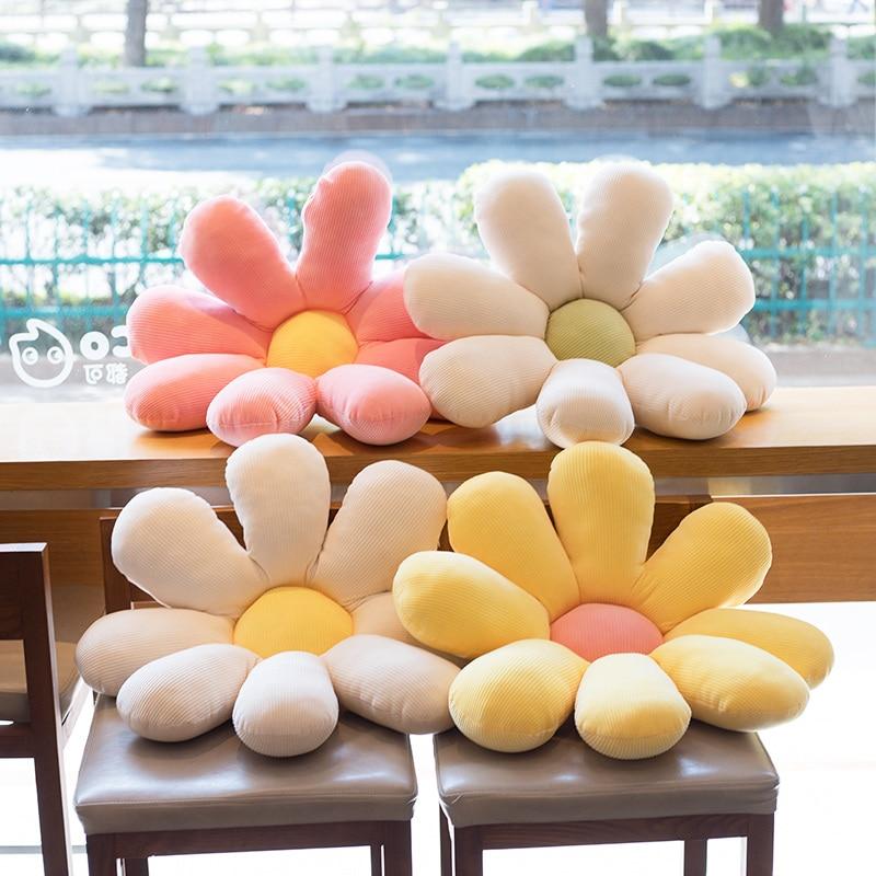 Подушка для сиденья подсолнуха, 60 см, плюшевая подушка для подсолнуха, желтая, розовая, бежевая Подушка для стула|Мягкие игрушки растения|   | АлиЭкспресс