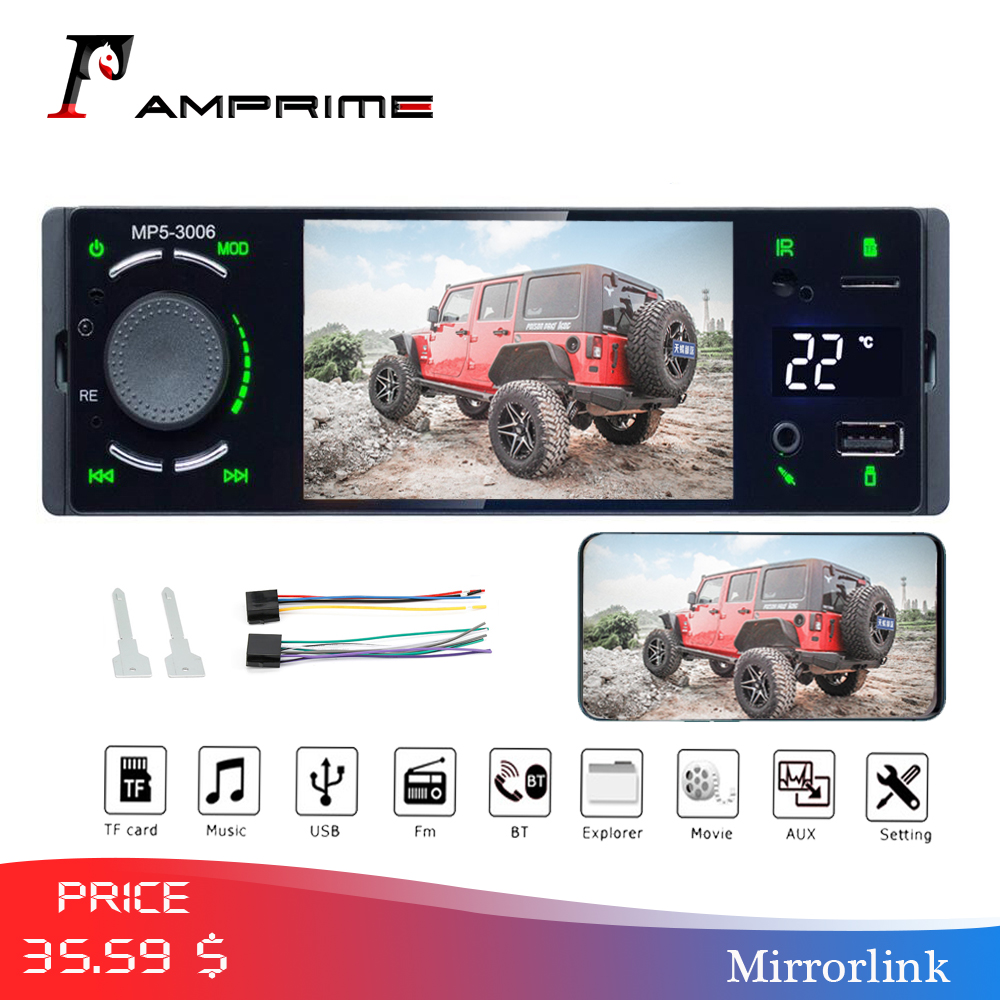 AMPrime Autoradio Car radio 1din 4.1 touch screen auto audio mirrorlink Android stereo bluetooth rearview camera usb aux player