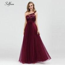 Sparkle Dresses A-Line One-Shoulder Slash Neck Burgundy Party Summer Elegant Evening Formal Lange Jurken 2019