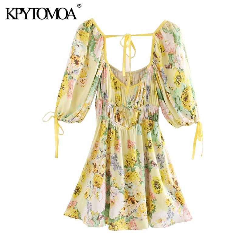 KPYTOMOA Women 2020 Chic Fashion Floral Print Pleated Mini Dress Vintage Tied Square Collar Short Sleeve Female Dresses Vestidos