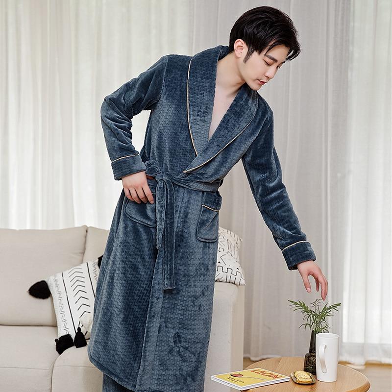 lanela inverno pijamas homens robe kimono vestido quente macio roupo de banho camisola masculina solta pijamas causal casa wear