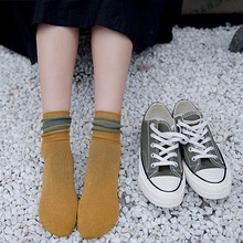 Striped Women Cotton Socks Autumn Winter Midi Fashion Korean Style Female Long Sock Woman