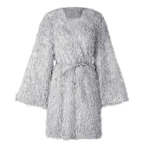 Image 5 - [EAM] Women Gray Tassel Belt Temperament Dress New V Neck Long Sleeve Loose Fit Fashion Tide All match Spring Autumn 2020 1B158