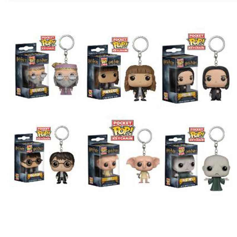 Funko Pop Pocket Harry Potter Keychain Hermione Granger Lord Voldemort Dobby Action Figures Toys