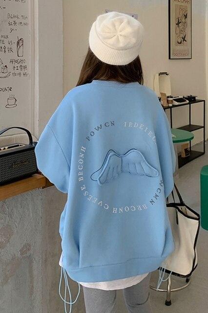 Oversized Hoodies  Harajuku Streetwear Chic Letter Print Hoodies Women Winter  Long Sleeve Hoodies kawaii Sweatshirt 6