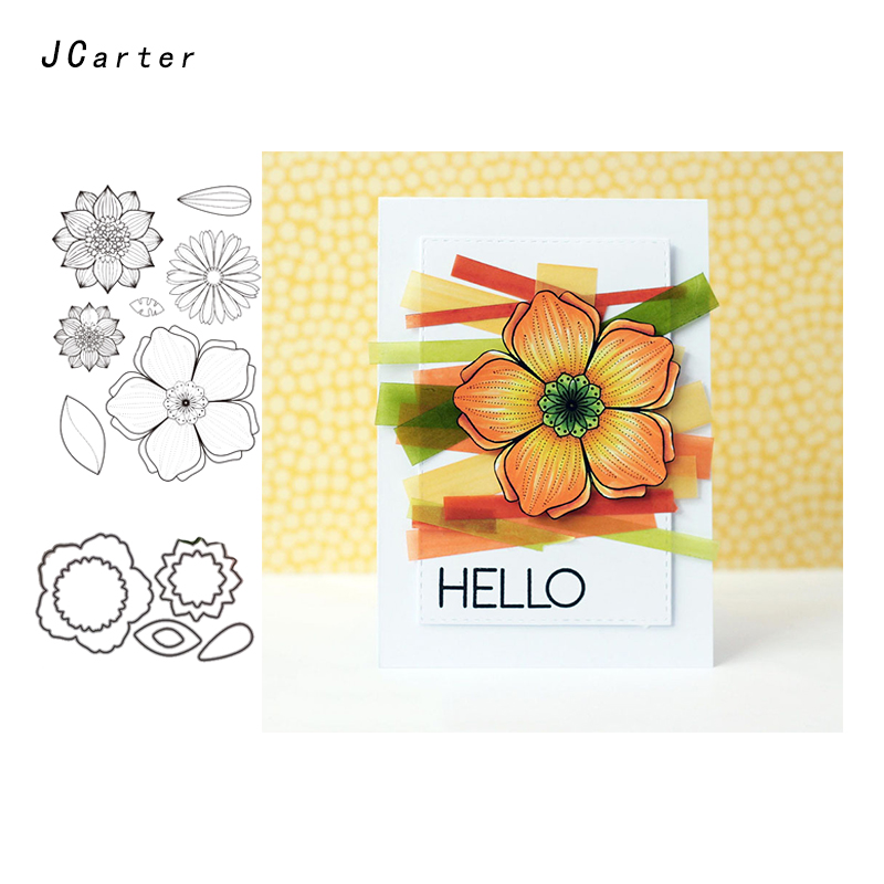 JCarter Cutting Dies and Stamps Hello Flowers Scrapbooking Craft Dies Cut Stencil Paper Card Making Album Sheet Decoration 2019 in Cutting Dies from Home Garden