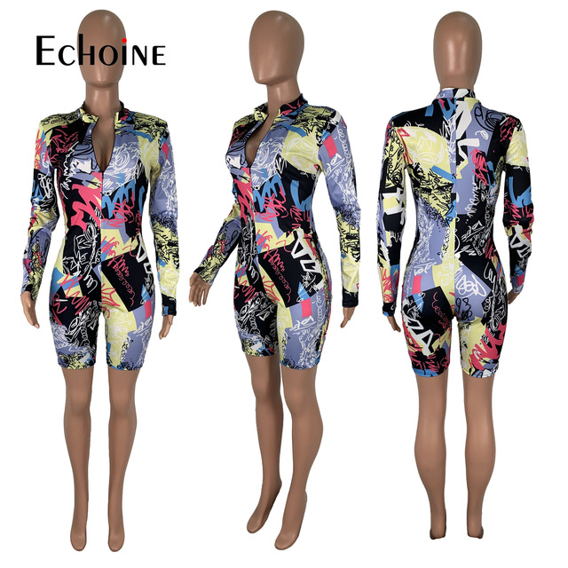 Echoine Tie-Dye print Women zipper up bodycon skinny short Jumpsuit Romper Fitness Sexy Night Party playsuit One Piece Outfit 6