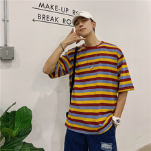 Summer T-shirt Men Fashion Contrast Color Casual Cotton Short-sleeved T Shirt Men Streetwear Loose Hip-hop Striped Tshirt Man contrast striped cactus print casual t shirt